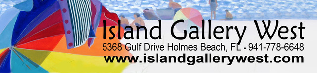 Island Gallery West, 5368 Gulf Drive, Holmes Beach, FL. Phone 941 778 6648. island gallery west dot com.